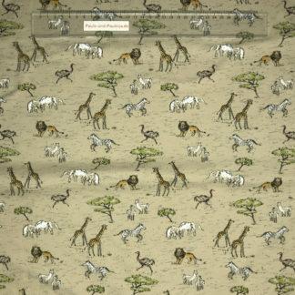 Bild Baumwolljersey Stoff in der Farbe beige mit Giraffen, Löwen, Zebras etc (Safari in Afrika)