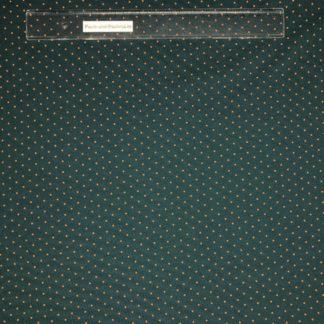 Bild Baumwolljersey Stoff in der Farbe türkis/petrol mit kleinen orangenen Punkten