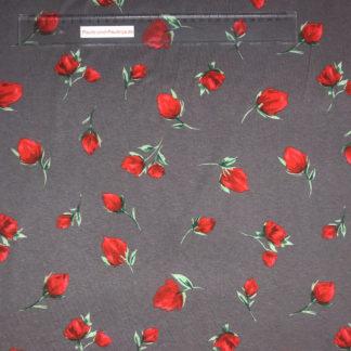 Bild Viskose Jersey in der Farbe dunkelgrau mit roten Rosenknospen