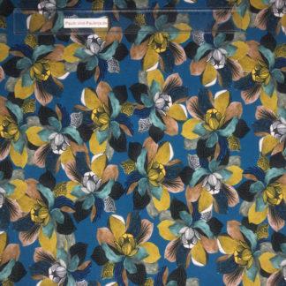 Bild Viskose Jersey in der Farbe dunkelblau mit großen türkisen und gelben Blüten