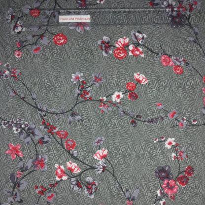 Bild Viskose Jersey in der Farbe olivgrün mit kleinen weißen Pünktchen und grau-rosa Blütenranken