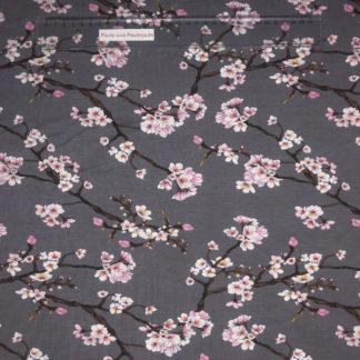 Bild Modal Jersey in der Farbe grau mit rosa Blütenzweigen
