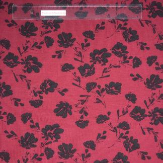 Bild Modal Jersey in der Farbe weinrot mit schwarzen Blüten