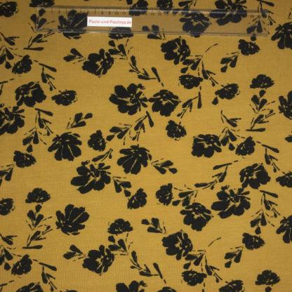 Bild Modal Jersey in der Farbe senfgelb mit schwarzen Blüten