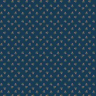 Webware, Baumwolle in dunkel blau mit Streublümchen