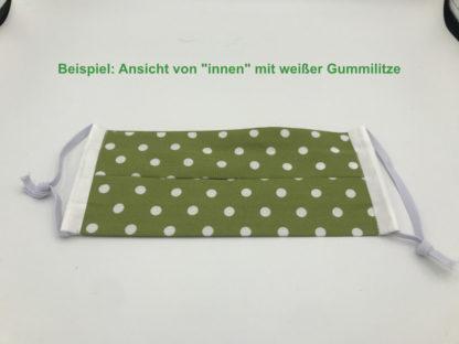 Bild Gesichtsmaske Baumwolle grün und weiße Punkte mit weißer Gummilitze, Gumikordel