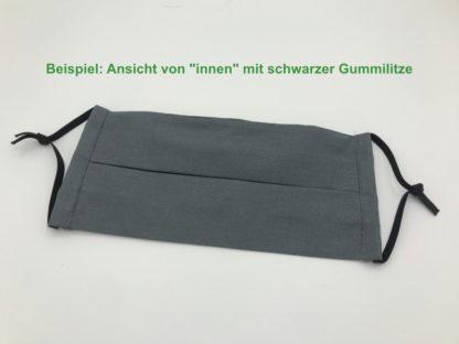 Bild Gesichtsmaske Baumwolle dunkelgrau mit schwarzer Gummilitze, Gumikordel