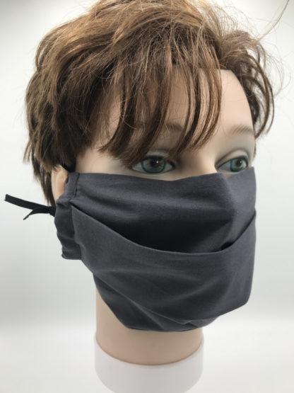 Bild Gesichtsmaske Baumwolle dunkelgrau mit schwarzer Gummilitze