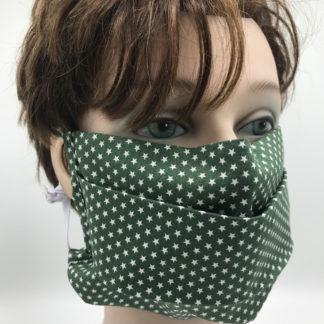 Bild Gesichtsmaske Baumwolle dunkelgrün mit kleinen weißen Sternchen mit weißer Gummilitze