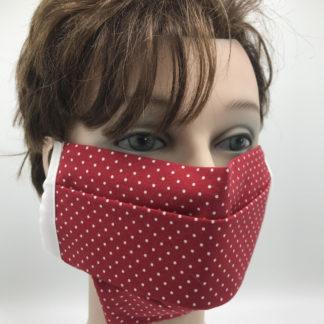 Bild Gesichtsmaske Baumwolle rot mit kleinen weißen Sternchen mit weißer Gummilitze