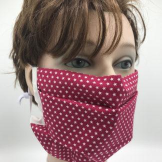 Bild Gesichtsmaske Baumwolle dunkelrot mit kleinen weißen Sternchen mit weißer Gummilitze