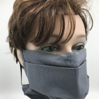 Bild Gesichtsmaske Baumwolle grau mit schwarzer Gummilitze