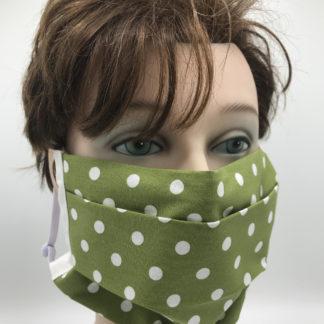 Gesichtsmaske Baumwolle grün und weißen Punkten mit weißer Gummilitze
