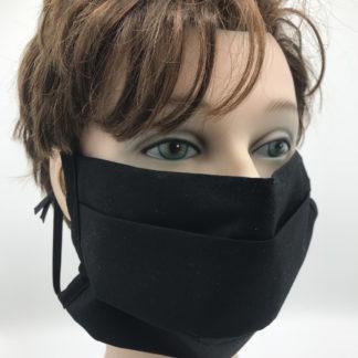 Bild Gesichtsmaske Baumwolle schwarz mit schwarzer Gummilitze