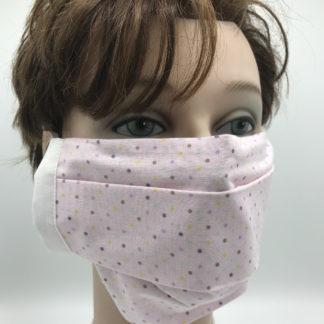 Bild Gesichtsmaske Baumwolle rosa und Punkte mit weißer Gummilitze, Gumikordel