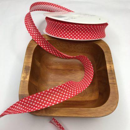 Bild Schrägband, Einfassband in rot weiß etwas größere Punkte gepunktet, 20mm, Baumwolle