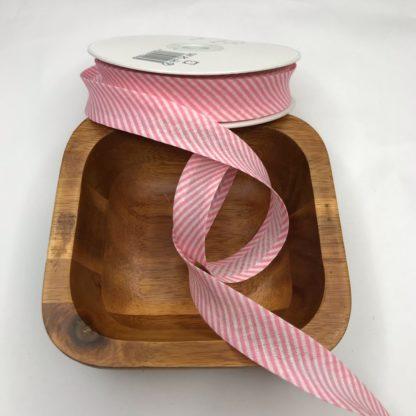 Bild Schrägband, Einfassband in rosa weiß kariert, 20mm, Baumwolle