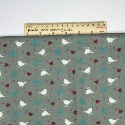 Bild Vogel, Spatz, Blumen, Herz, Punkte