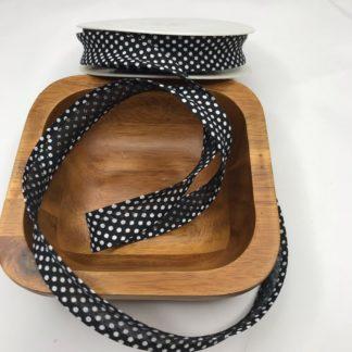 Bild Schrägband, Einfassband in schwarz weiß etwas größere Punkte gepunktet, 20mm, Baumwolle