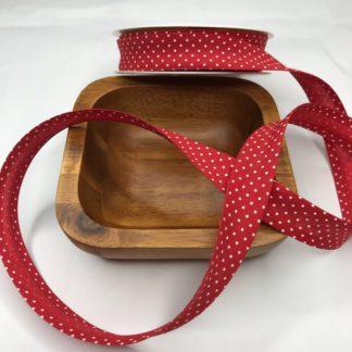 Bild Schrägband, Einfassband in rot mit kleinen weißen Punkten, 20mm, Baumwolle