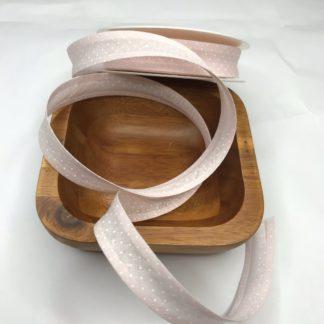 Bild Schrägband, Einfassband in zart rosa mit kleinen weißen Punkten, 20mm, Baumwolle