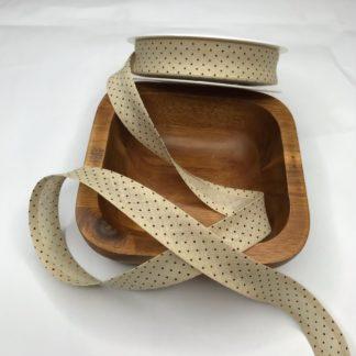 Bild Schrägband, Einfassband in cappuccino mit kleinen weißen Punkten, 20mm, Baumwolle