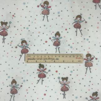 Bild Baumwolljersey, Jersey, stretch, dehnbar, Jerseystoffe, Stoffe, Kinderstoff, Drachen, Punkte, weiß, rosa, pastell, tanzende Ballerinas, Feen, Elfe