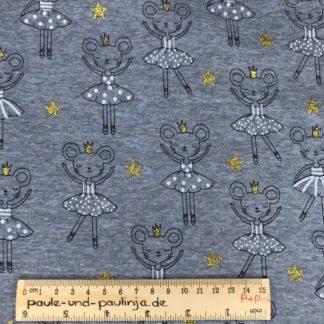 Bild Alpenfleece, Fleece, dicker Stoff, warm, kuschelig, blau, blaumeliert, Mäuse, tanzen, Ballett, Ballerina, Krone, Glitzer, gold, Sterne