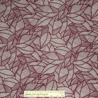 Bild Webware, Baumwolle, Canvas, Stoff für Kissen, Stoff für Taschen, Stoff für Tücher, robust, Blätter, natur, beige, dunkelrot
