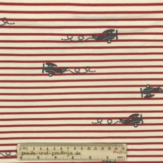 Bild Baumwolljersey, Jersey, stretch, dehnbar, Jerseystoffe, Stoffe, Kinderstoff, gestreift, rot, weiß , grau, Doppeldecker, Flugzeug