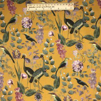 Bild Webware, Baumwolle, Canvas, Stoff für Kissen, Stoff für Taschen, Stoff für Tücher, robust, ockergelb, botanische Motive, Vogelarten, Vögel, Pflanzen, Blumen, Blüten