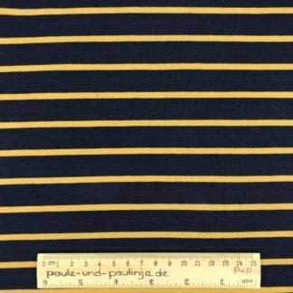 Bild Sommer Sweat, French Terry, Jersey, stretch, dehnbar, weich, gestreift, Streifen, dunkelblau, gelb, ockergelb
