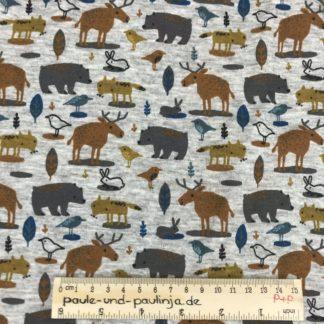 Bild Alpenfleece, Fleece, dicker Stoff, warm, kuschelig, Punkte, braun, grün, grau, Waldtiere, Tiere, Fuchs, Hirsch, Reh, Bär, Hase