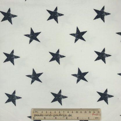 Bild Sommer Sweat, French Terry, Jersey, stretch, dehnbar, weich, maritim, blau, dunkelblau, weiß, Sterne, Sternchen