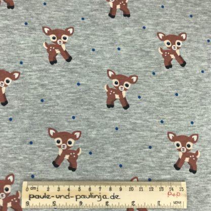 Bild Alpenfleece, Fleece, dicker Stoff, warm, kuschelig, grau, meliert, Bambi, Rehkitz, Reh, Punkte