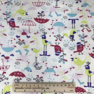 Bild Baumwolljersey, Jersey, stretch, dehnbar, Jerseystoffe, Stoffe, Kinderstoff, niedlich, weiß, bunte Vögel, Regen, Schirm, Vogel