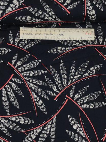 Bild Viskose mit Elastan, Elasthan, stretch, Viskosestoffe, dehnbar, schwarz, weiß, rosa, Federn, Blätter, Punkte, Muster, Strich