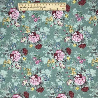 Bild Webware, Baumwolle, Canvas, Stoff für Kissen, Stoff für Taschen, Stoff für Tücher, robust, hellblau, mint, Blumen, Blumenmuster, rosa, rot, gelb