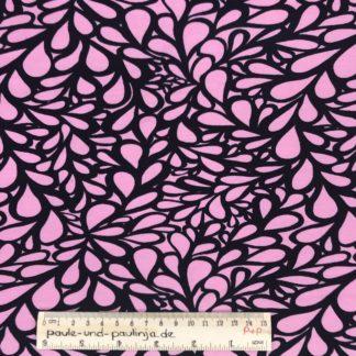 Bild Baumwolljersey, Jersey, stretch, dehnbar, Jerseystoffe, Stoffe, Muster, Motiv, rosa, schwarzes Muster, großes Muster, Tropfen