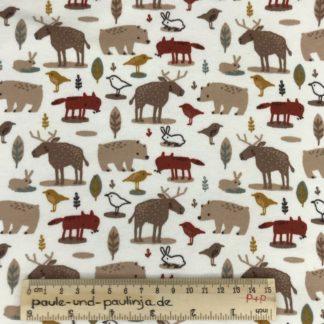 Bild Alpenfleece, Fleece, dicker Stoff, warm, kuschelig, Punkte, braun, grün, rot, Waldtiere, Tiere, Fuchs, Hirsch, Reh, Bär, Hase