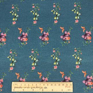 Bild Baumwolljersey, Jersey, stretch, dehnbar, Jerseystoffe, Stoffe, Muster, Motiv, blau, Schmetterlinge, Blumen, bunte Schmetterlinge