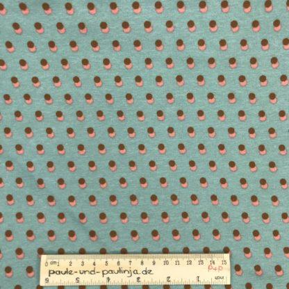 Bild Alpenfleece, Fleece, dicker Stoff, warm, kuschelig, Punkte, hellblau, himmelblau, babyblau, rosa, braun