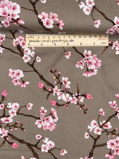 Bild Viskose mit Elastan, Elasthan, stretch, Viskosestoffe, dehnbar, rosa, cappucino, hellbraun, sand, beige, Kirschblüten, Japan, Kirsche, Blumen, Blüten
