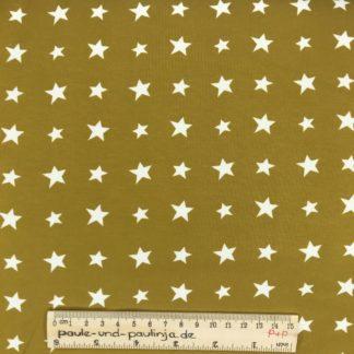 Bild Baumwolljersey, Jersey, stretch, dehnbar, Jerseystoffe, Stoffe, Muster, Motiv, ockergelb, senfgelb, gelb, Sterne, weiße Sterne, weiß