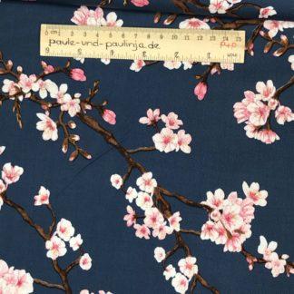 Bild Viskose mit Elastan, Elasthan, stretch, Viskosestoffe, dehnbar, rosa, dunkelblau, blau, Kirschblüten, Japan, Kirsche, Blumen, Blüten