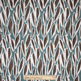 Bild Webware, Baumwolle, Canvas, Stoff für Kissen, Stoff für Taschen, Stoff für Tücher, robust, Hobby, Nähzubehör, blau, braun, Federn, Blätter, Muster