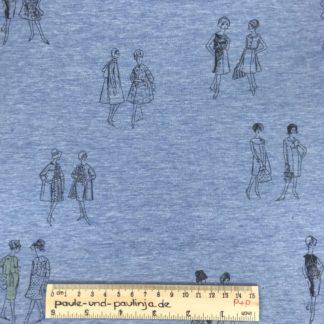 Bild Baumwolljersey, Jersey, stretch, dehnbar, Jerseystoffe, Stoffe, Muster, Motiv, Freundinnen, Damen, Frauen, Unterhaltung, Paris, blau, hellblau, himmelblau, weiß meliert, meliert