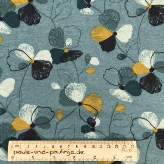 Bild Alpenfleece, Fleece, dicker Stoff, warm, kuschelig, weiß, bunte Blumen, blau, gelb