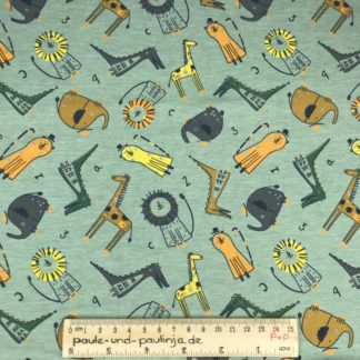 Bild Baumwolljersey, Jersey, stretch, dehnbar, Jerseystoffe, Stoffe, Muster, Motiv, blau, mintgrün, Zootiere, Elefanten, Löwen, Giraffen, Krokodil, Zahlen, ABC, Alphabet