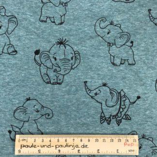 Bild Alpenfleece, Fleece, dicker Stoff, warm, kuschelig, türkis, meliert, Elefanten, Zirkus